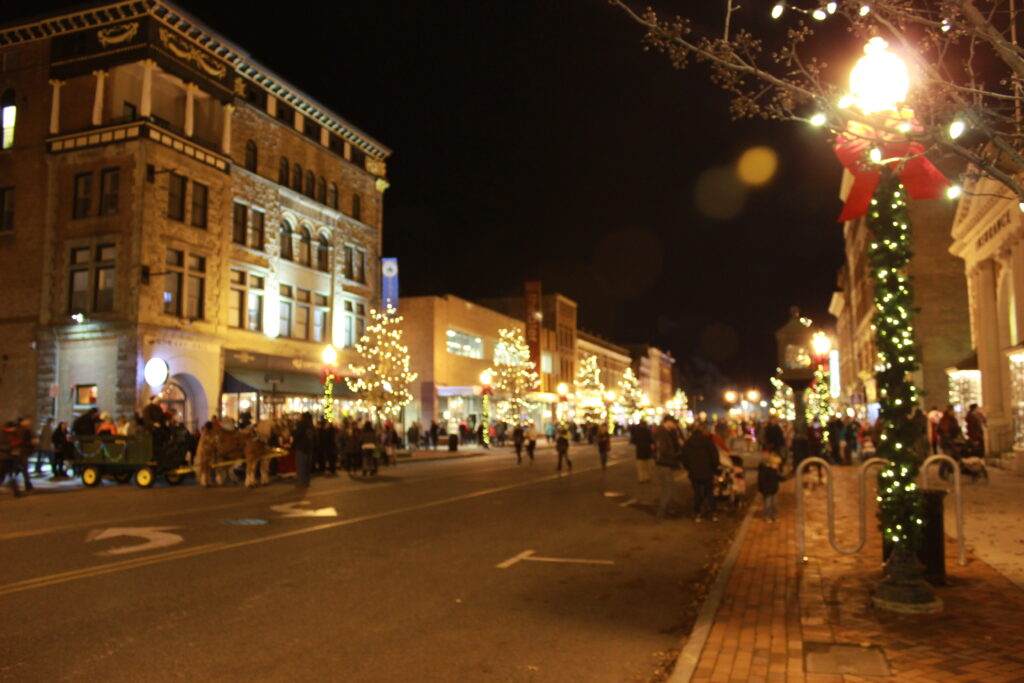 Downtown Glens Falls lit up for the holidays