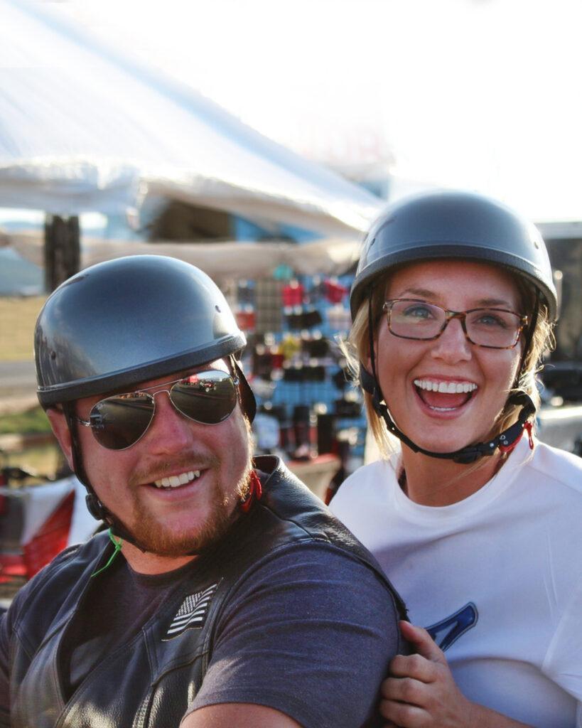 Couple wearing Kirsh Helmets