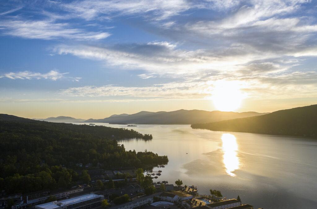 Sunrise over Lake George with blue sky