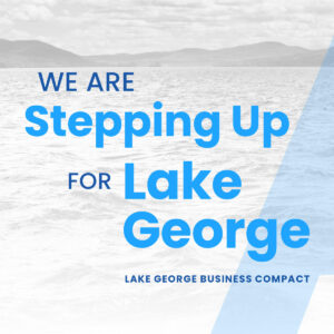 Graphic that reads we are stepping up for Lake George
