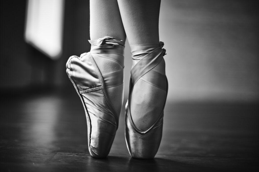 Black and white ballet slippers