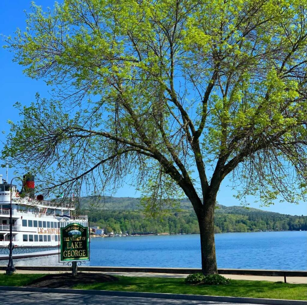 A cruise boat sits at the dock with the blue lake water around it. On the right is a pretty tree and a green sign that says Village of Lake George